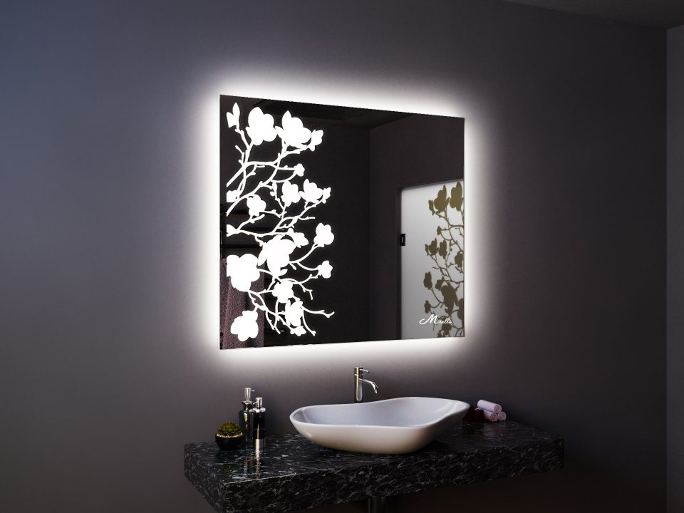 Зеркало со световым рисунком Flowers