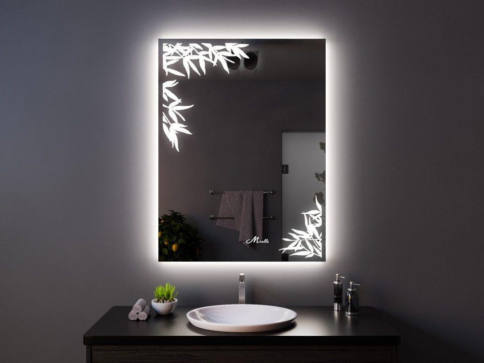 Зеркало с подсветкой в эко-стиле Leafs