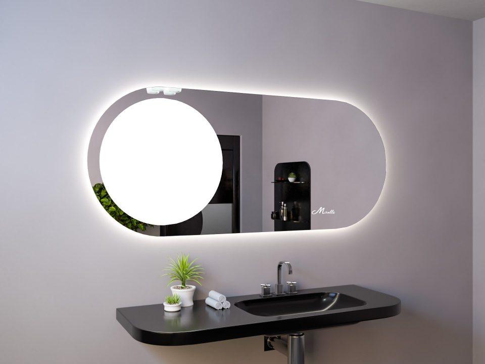Овальное зеркало с подсвеченной областью Luna