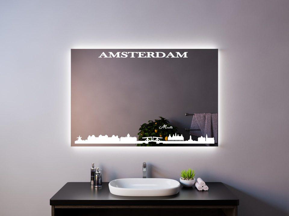 Зеркало с подсветкой в стиле урбан Amsterdam