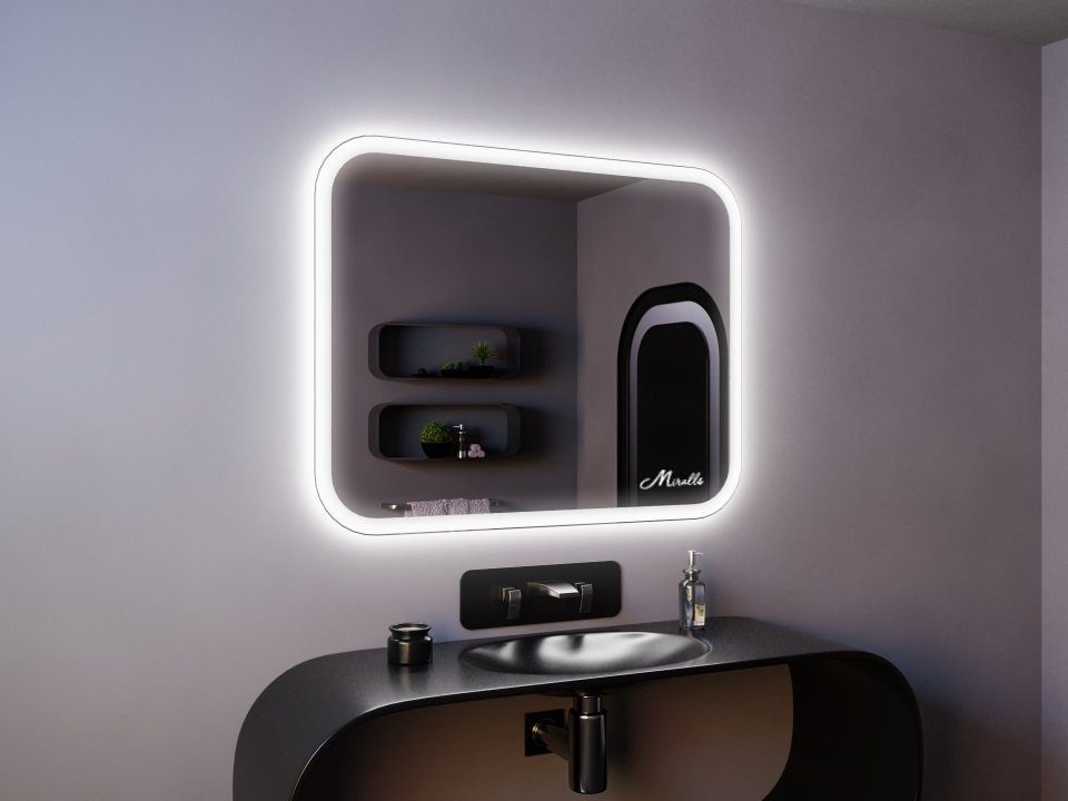 Зеркало с подсветкой и закругленными углами Camelia
