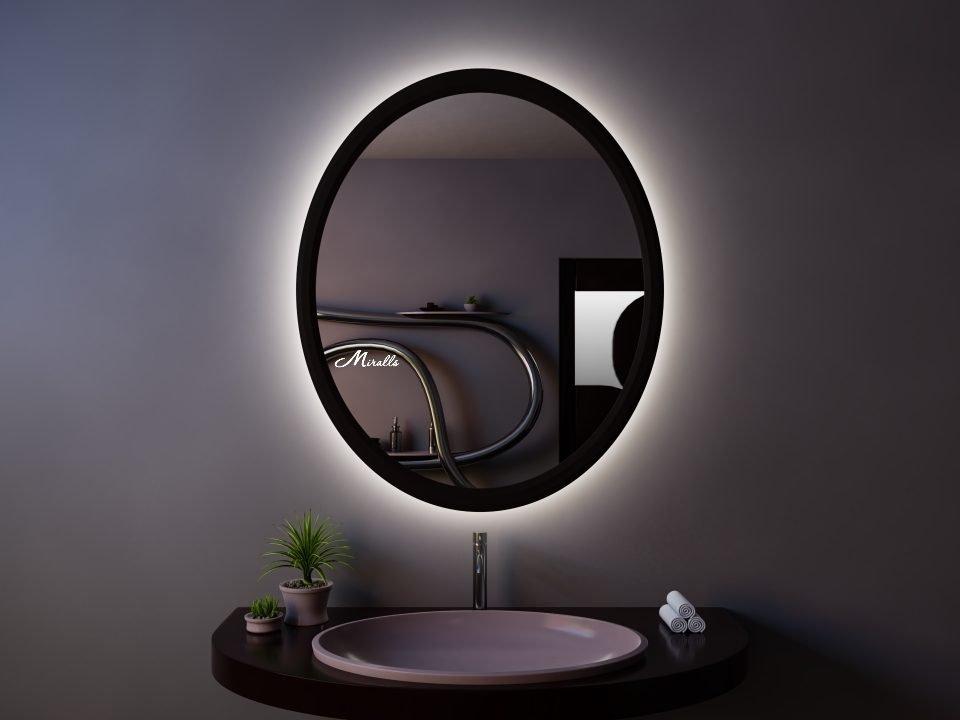 Зеркало Bella в черной деревянной раме