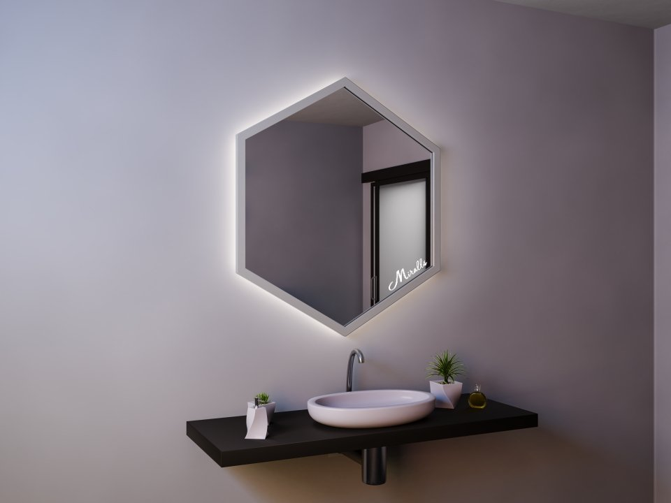 Зеркало с подсветкой в деревянной раме Dante