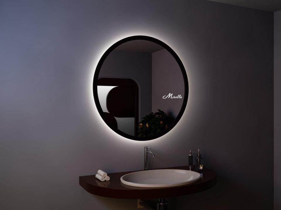 Зеркало с подсветкой в деревянной раме Simona