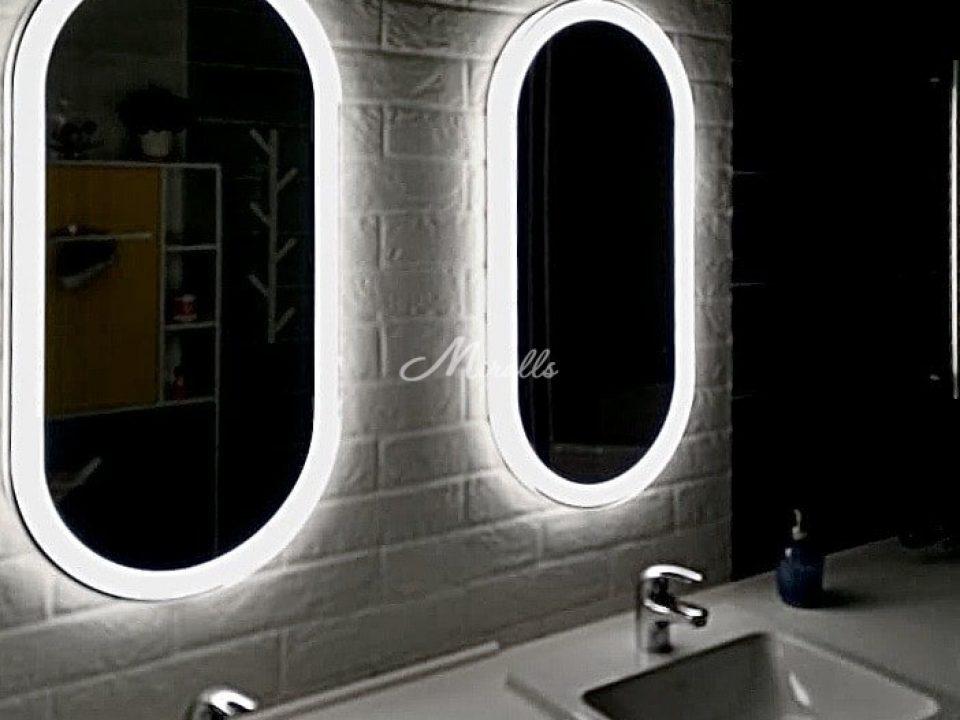 Зеркала Aura с холодной подсветкой