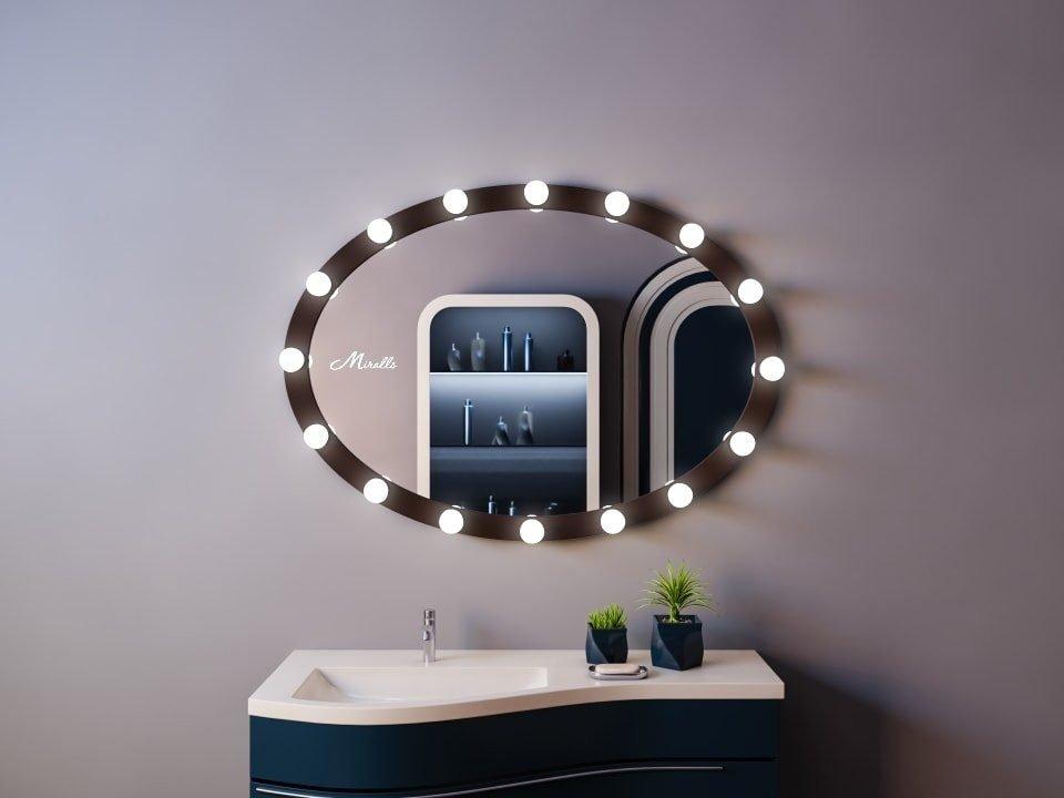 Зеркало с подсветкой в деревянной раме Blues