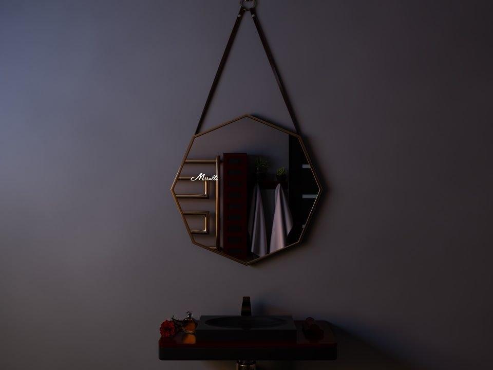 Шестиугольное подвесное зеркало на ремнях Candy
