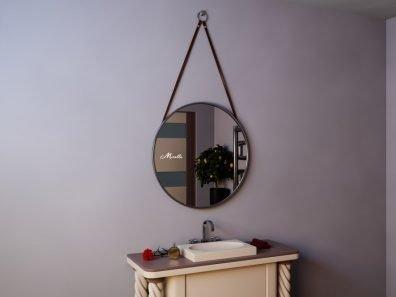 Круглое подвесное зеркало на ремнях Estetica