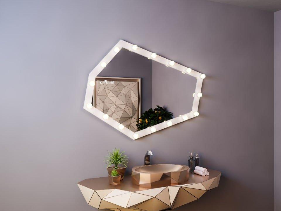 Зеркало с лампами в деревянной раме Iceberg Ultra