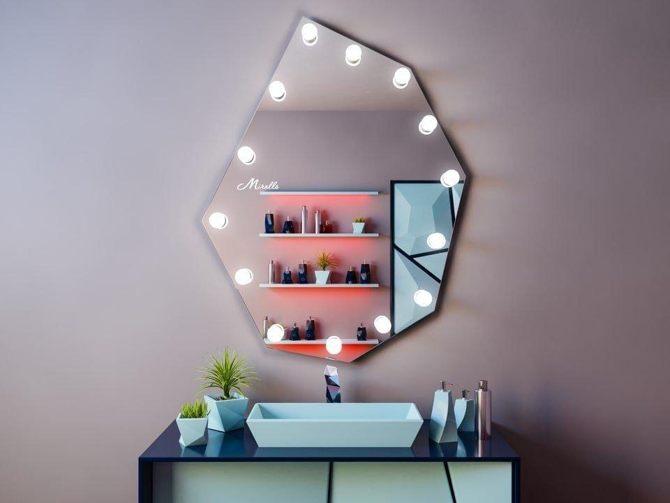 Гримёрное зеркало с лампочками Pafos