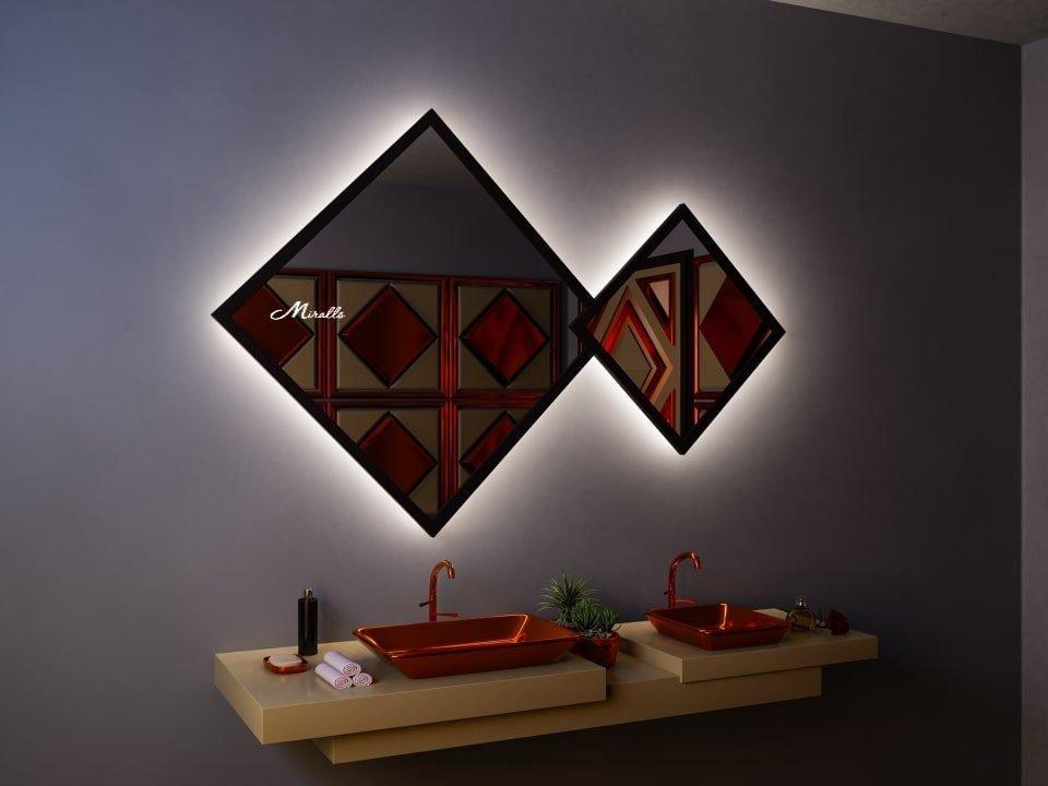 Двойное ромбовидное зеркало с подсветкой Evita Extra