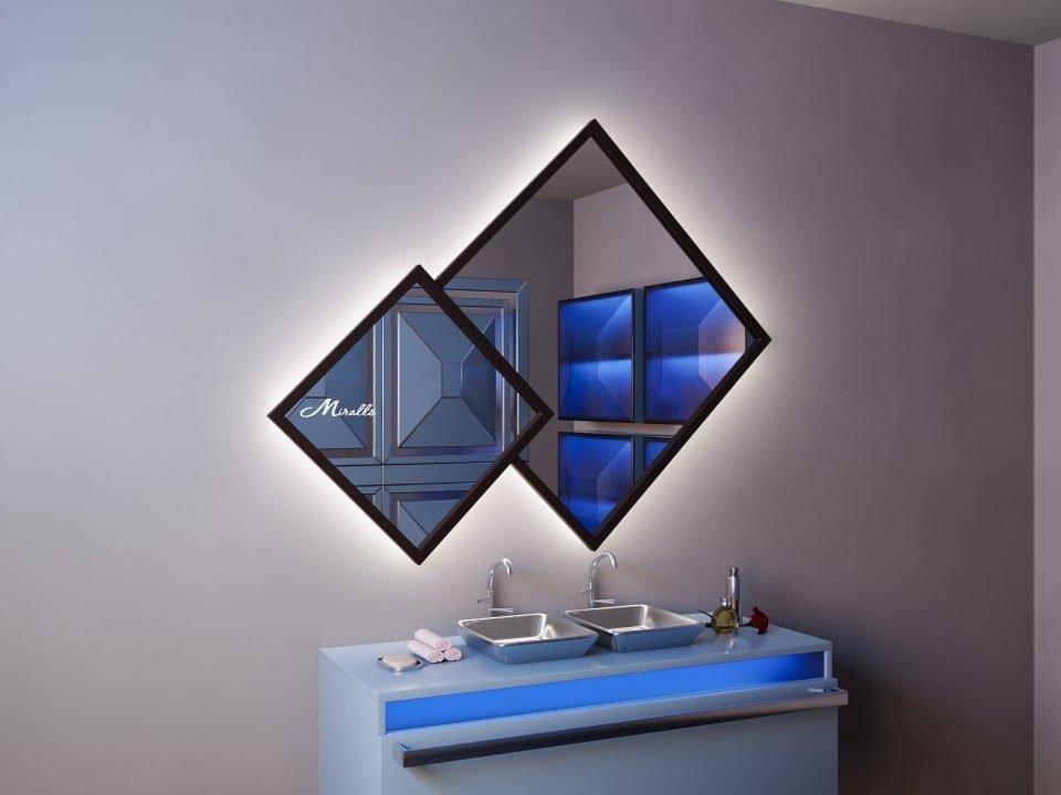Двойное ромбовидное зеркало в деревянной раме Fenix Extra