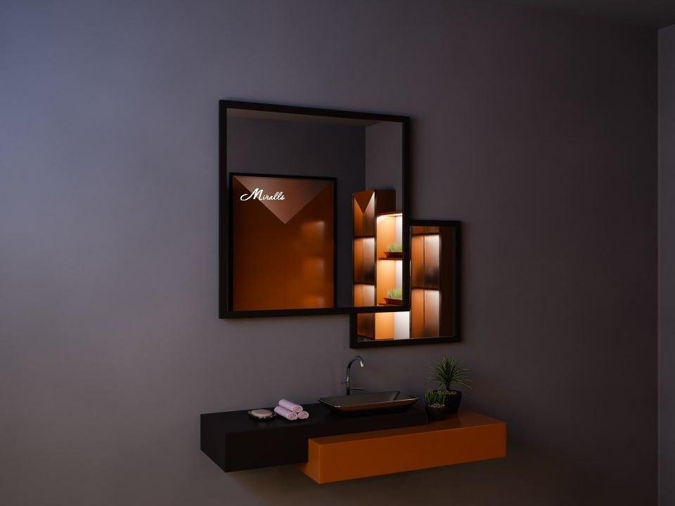 Двойное квадратное зеркало без подсветки Kant