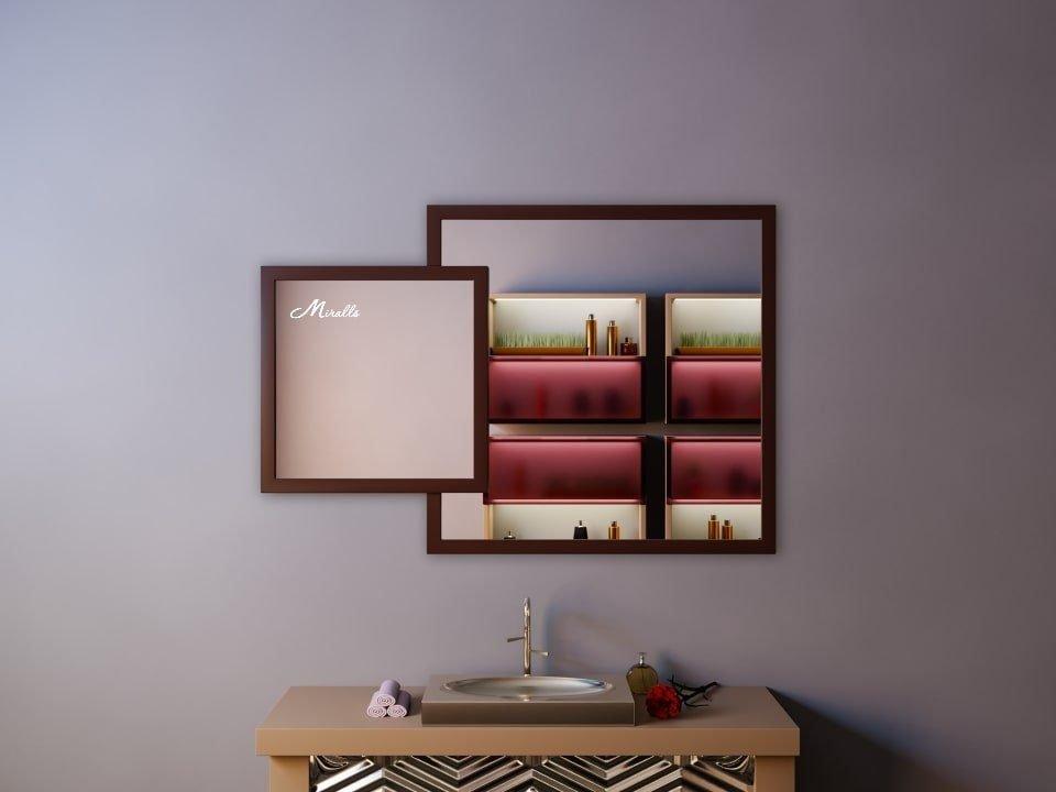 Двойное квадратное зеркало в деревянной раме Toledo