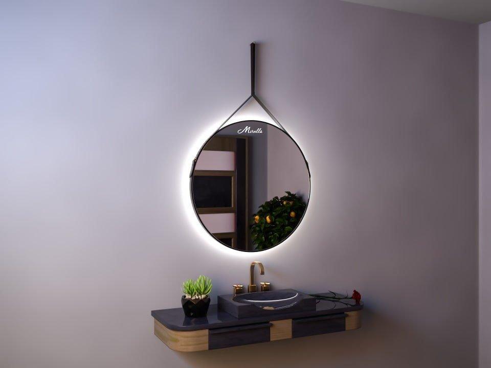 Зеркало с подсветкой на ременном подвесе Melania