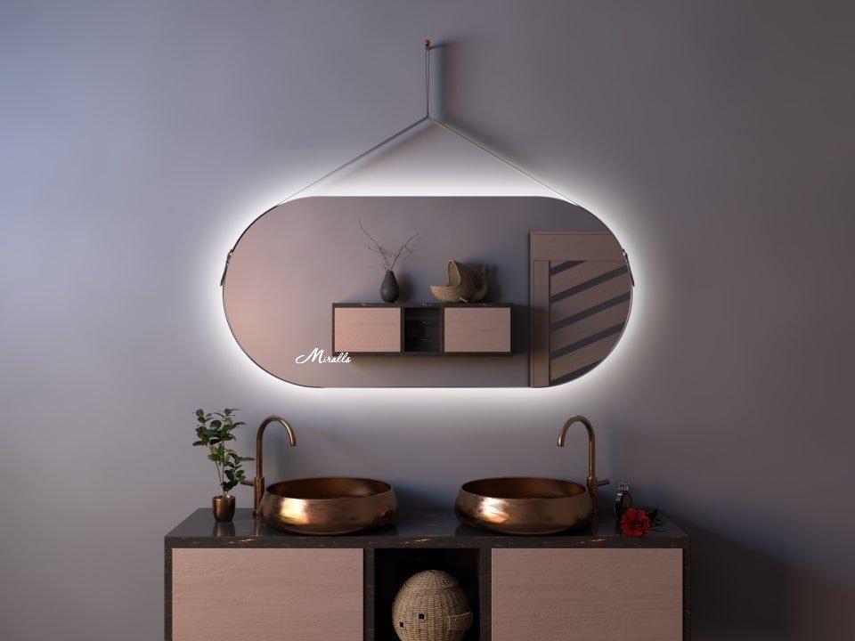 Эксклюзивное зеркало с подсветкой на ременном подвесе Apollo Extra