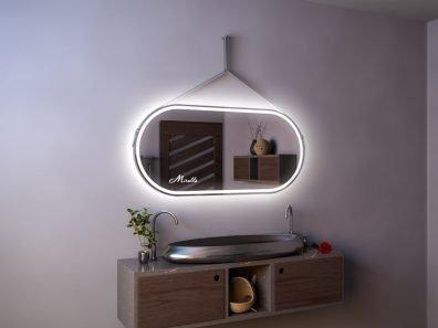 Эксклюзивное зеркало с подсветкой на ременном подвесе Apollo Plus