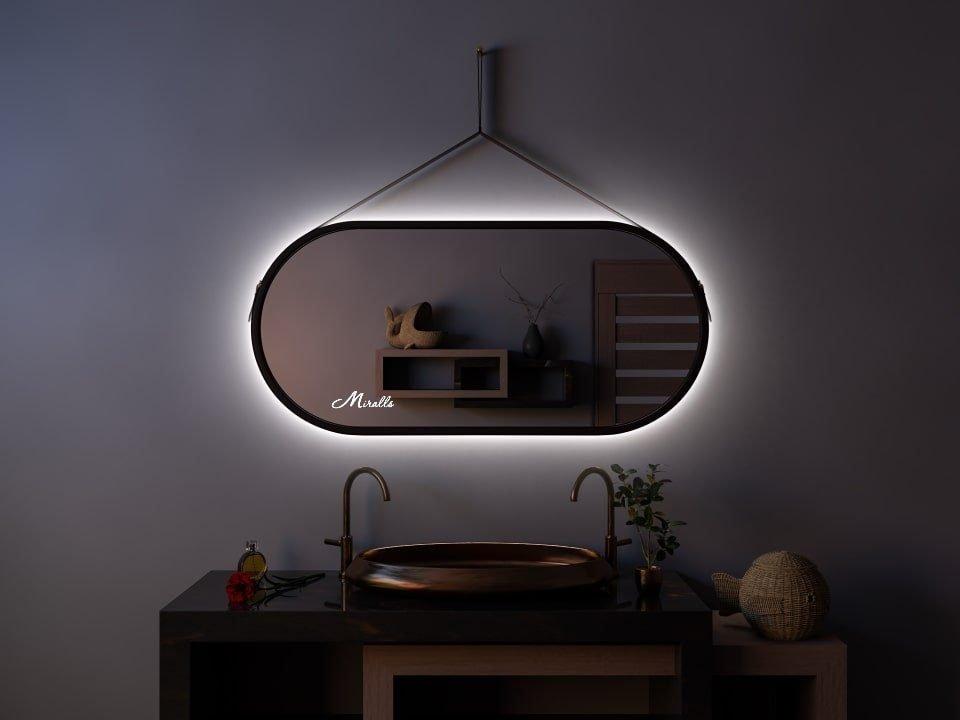 Эксклюзивное зеркало на ременном подвесе с подсветкой Fantasy Extra