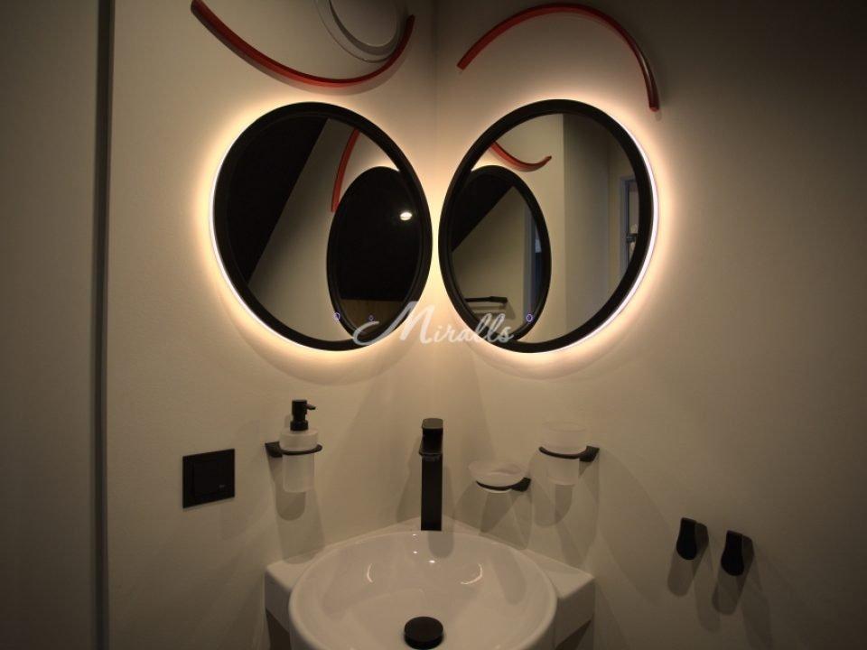 Зеркала Simona в черной раме с тач-сенсорос. Теплый свет