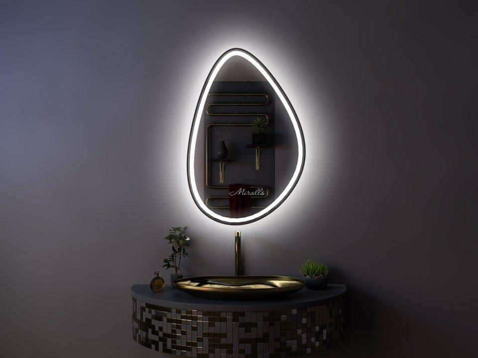 интерьерное зеркало фигурной формы с фронтальной и интерьерной подсветкой в раме МДФ - Amanda plus