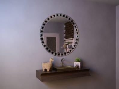 Круглое зеркало без подсветки в мозаичное раме - Ramona