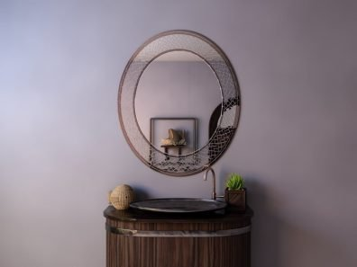 овальное зеркало без подсветки в мозаичной раме - Siluet