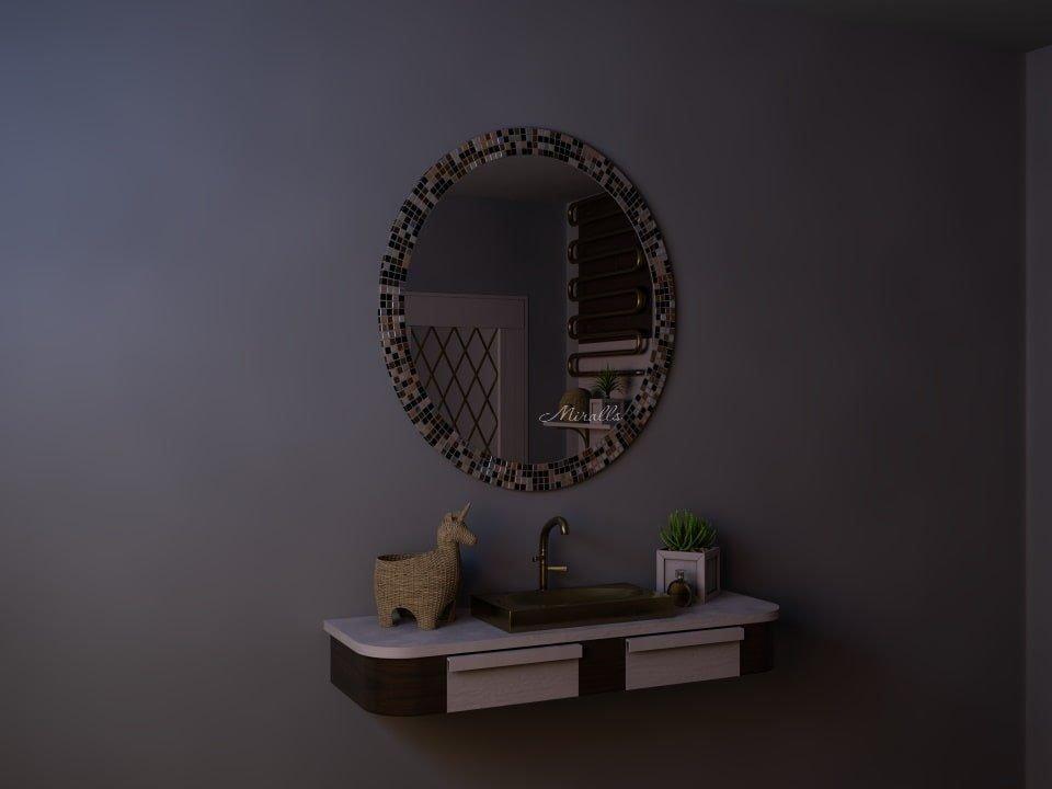 овальное зеркало без подсветки в мозаичной раме - Taggert