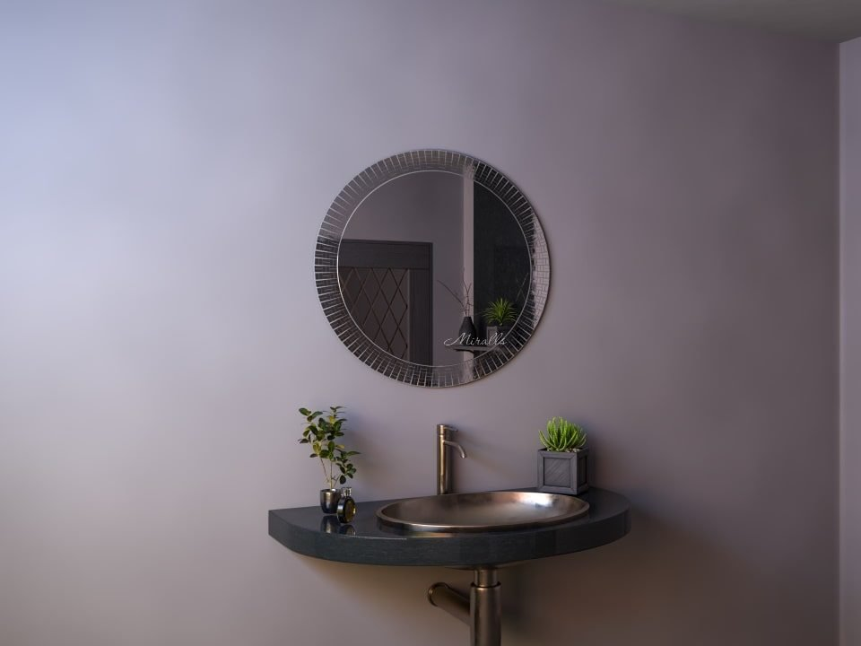 овальное зеркало без подсветки в раме из мозаики - Union