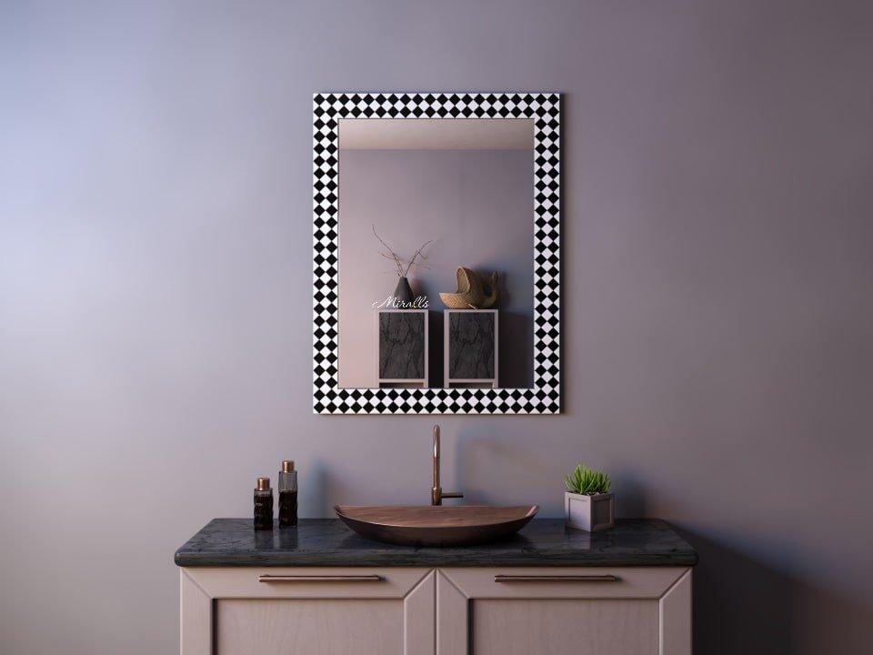 прямоугольное зеркало без подсветки в раме из мозаики - Hilton