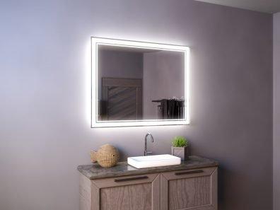 Прямоугольное зеркало с фронтальной и интерьерной подсветкой - Gustav