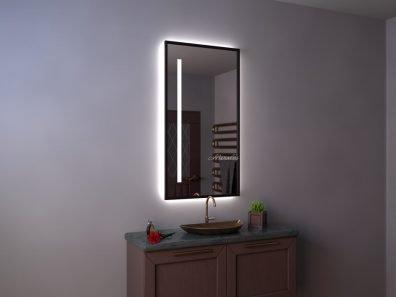 прямоугольное зеркало с интерьерной и фронтальной подсветкой в раме МДФ - Altair