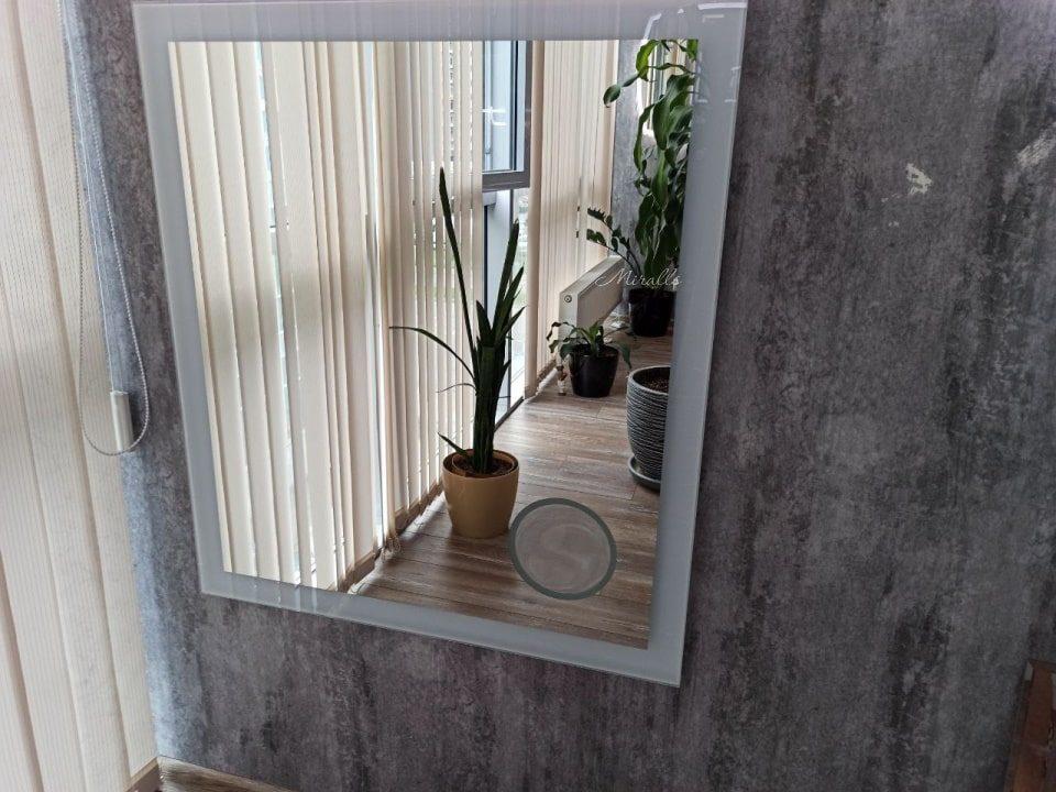 прямоугольное зеркало с подсветкой и с увеличительным зеркалом - Modern