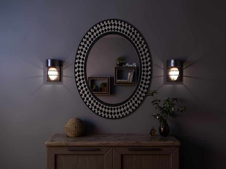 зеркало без подсветки в раме из мозаики - Helios