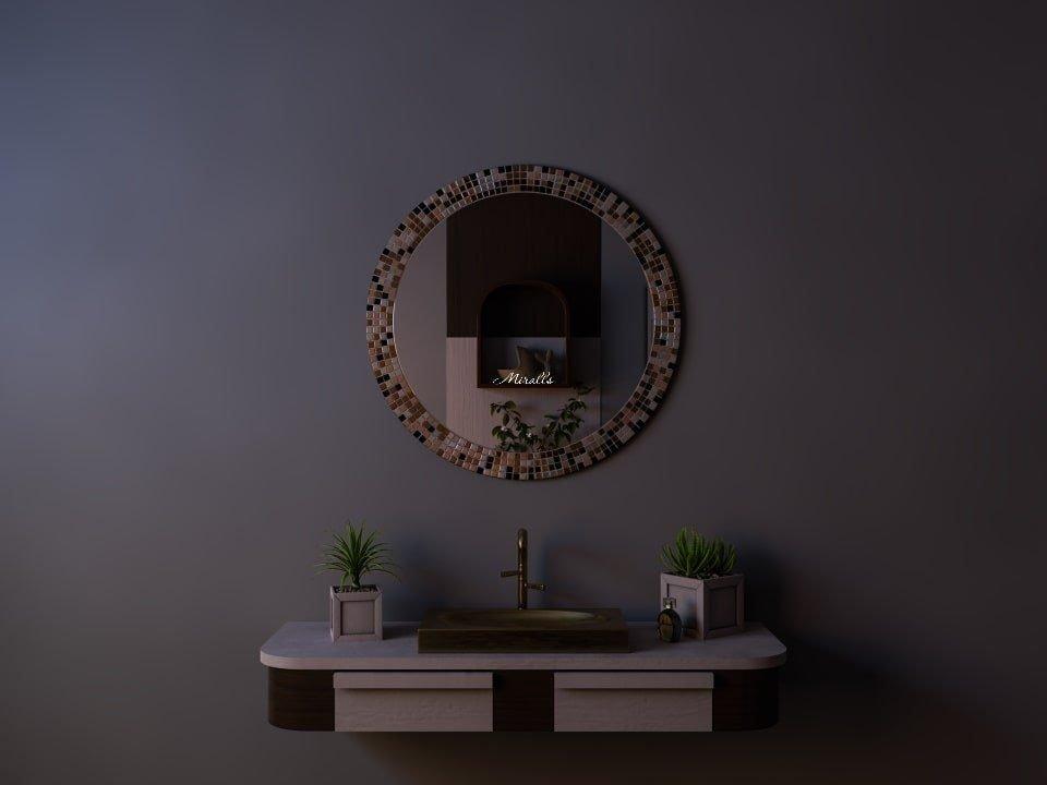 Круглое зеркало без подсветки в раме из мозаики Felicia