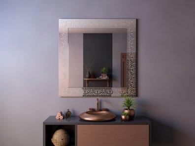 Квадратное зеркало без подсветки в раме из мозаики Fort