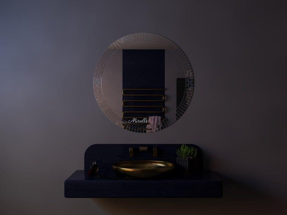 круглое зеркало в раме из мозаики - Kitana