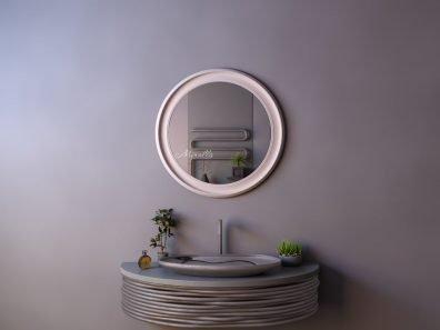 круглое зеркало без подсветки в широкой раме МДФ Beatrice