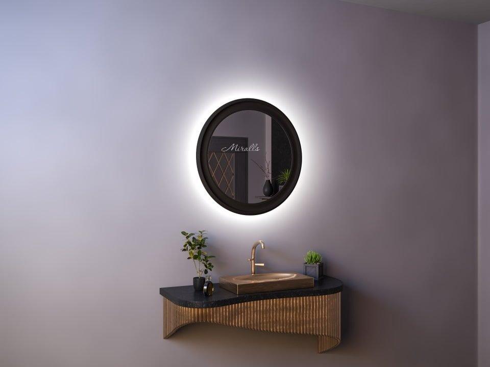 круглое зеркало с интерьерной подсветкой в широкой раме МДФ Beatrice Extra