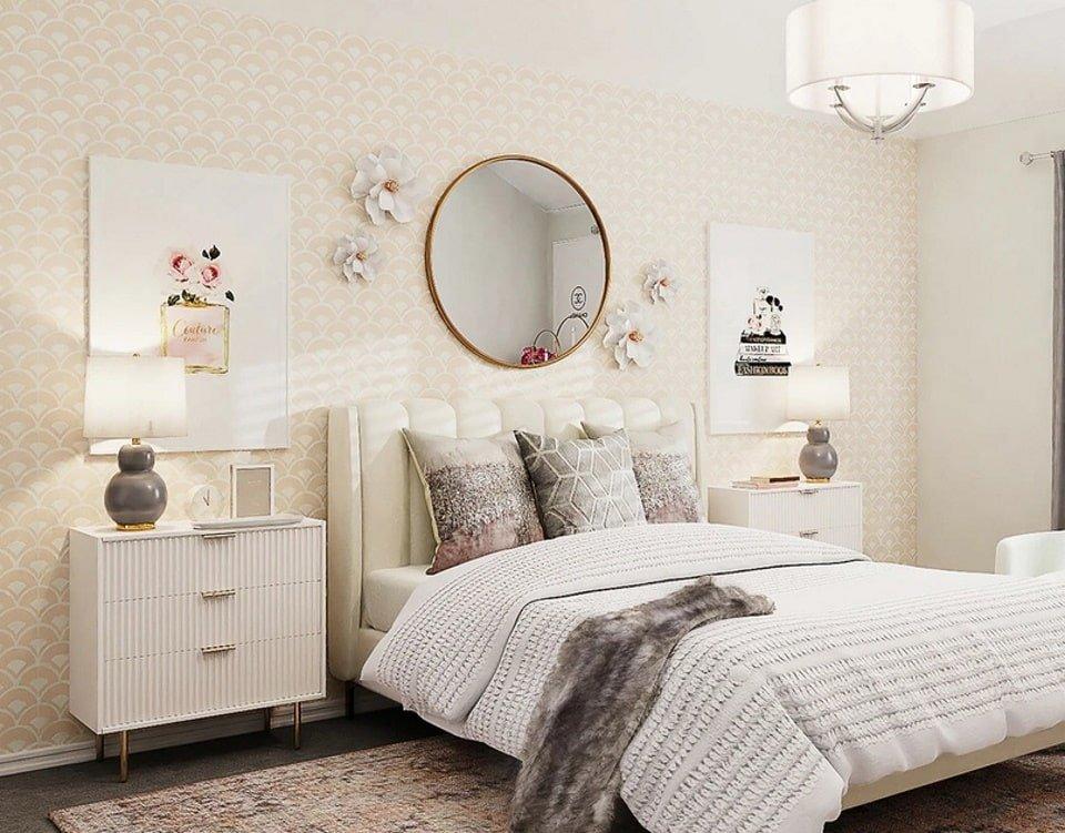 Круглое зеркало в спальне. Фотография для статьи Зеркало для детской комнаты