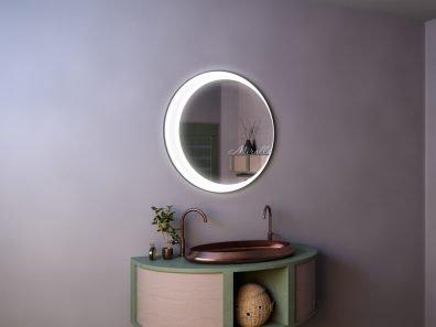 круглое зеркало Lily с интерьерной и фронтальной подсветкой