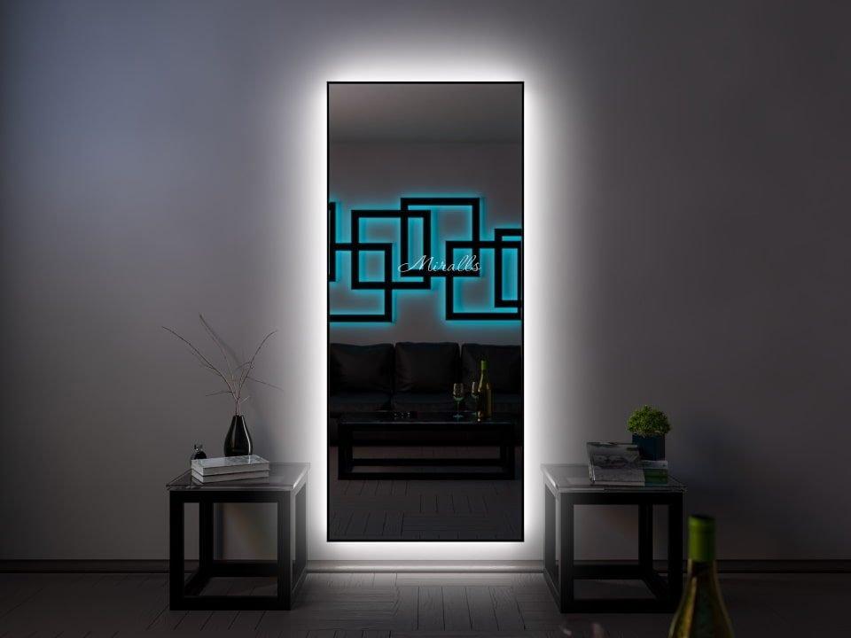 прямоугольное зеркало Brams XL в деревянной раме с интерьерной подсветкой