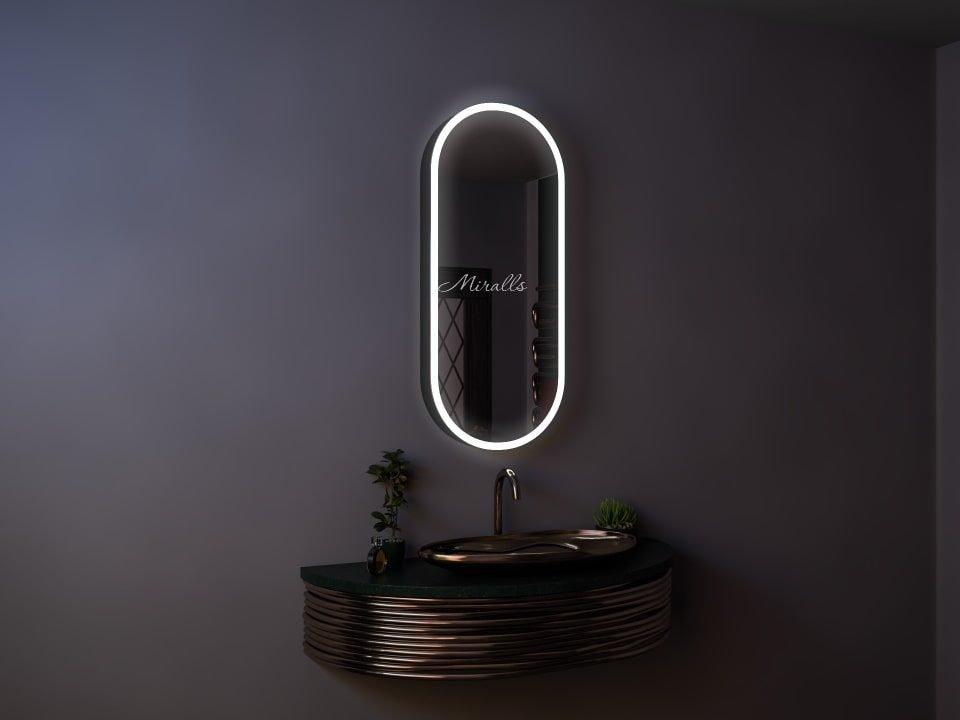 капсульный зеркальный шкаф для ванны Rafael с интерьерной и фронтальной подсветкой