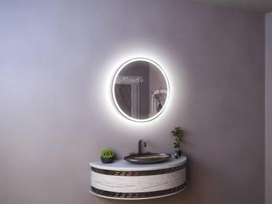 круглый зеркальный шкаф в ванную Aklit с подсветкой