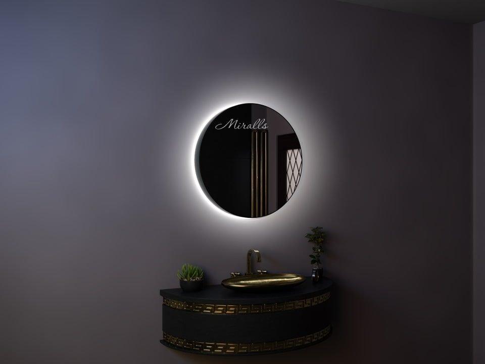 круглый зеркальный шкаф в ванную комнату Muar с интерьерной подсветкой