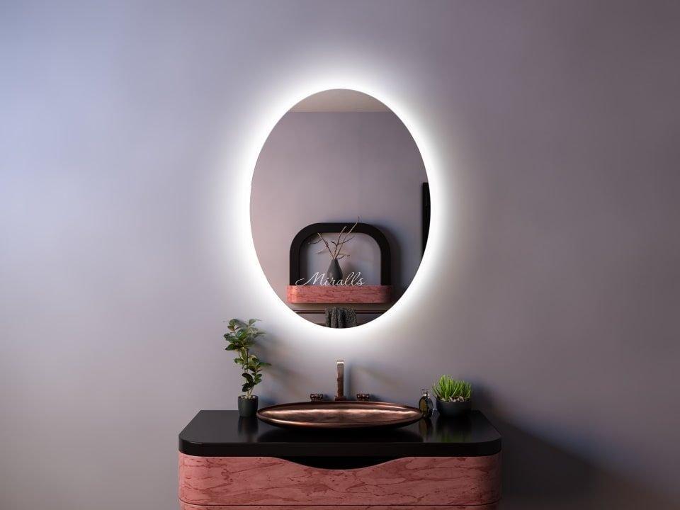 овальный зеркальный шкаф для ванны Gariel с подсветкой