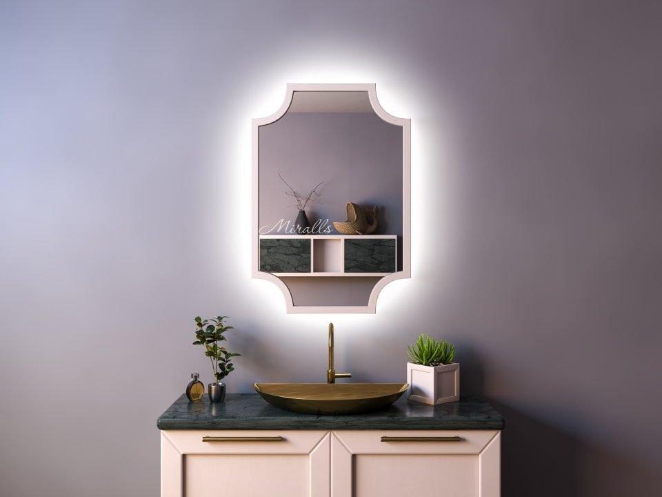 прямоугольное зеркало Nexus Extra с интерьерной подсветкой в деревянной раме