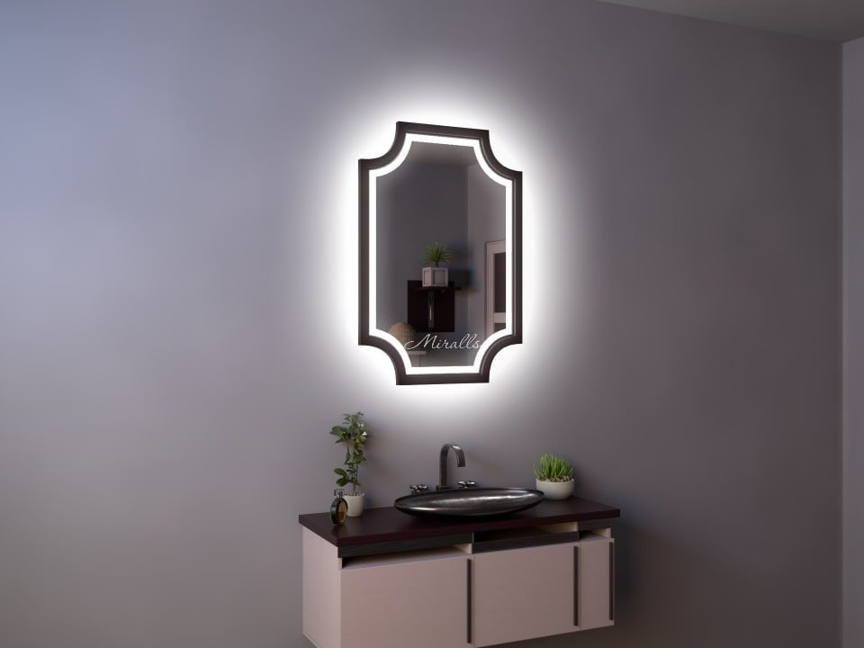 прямоугольное зеркало Nexus Plus с интерьерной и фронтальной подсветкой в деревянной раме