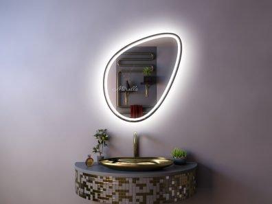 зеркало необычной формы Mystic Plus с интерьерной и фронтальной подсветкой в раме