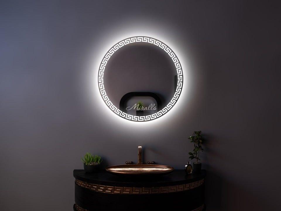 Круглый зеркальный шкаф для ванны Sandro