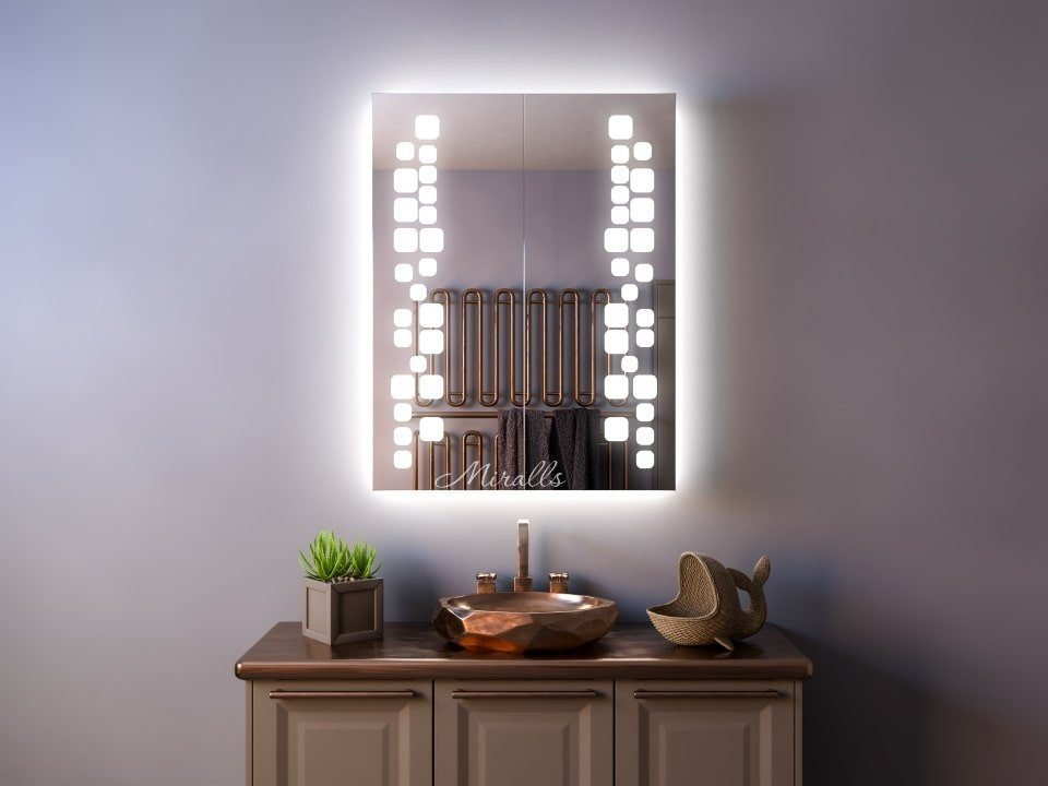 Зеркальный шкаф с подсветкой в ванную Arabica